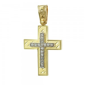 Women's cross Aneli collection K14 006980 yellow and white gold with zircon
