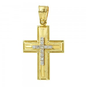 Women's cross Aneli collection K14 006981 yellow and white gold with zircon