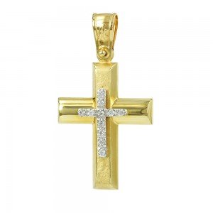 Women's cross Aneli collection K14 006985 yellow and white gold with zircon