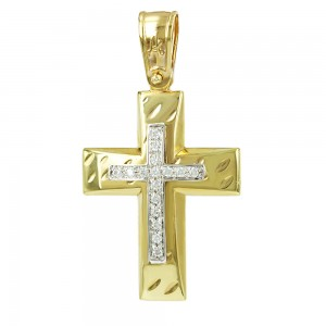 Women's cross Aneli collection K14 006986 yellow and white gold with zircon