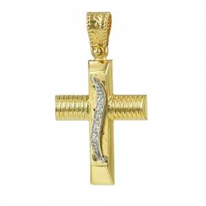 Women's cross Aneli collection K14 006987 yellow and white gold with zircon