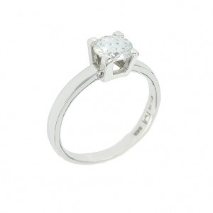 Solitaire ring White gold K14 with semiprecious stone Code 002518