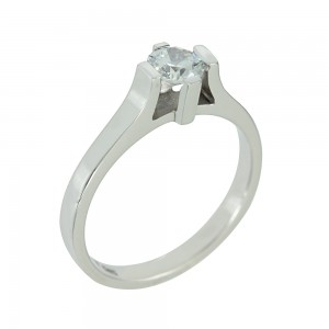 Solitaire ring White gold K14 with semiprecious stone Code 002519