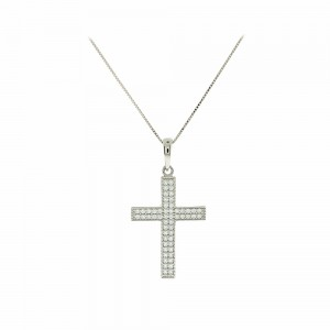 Woman's cross pendant  with chain, K14 and semiprecious stones 003459 White gold