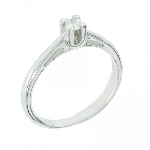 Solitaire ring White gold  K14 with semiprecious stone Code 003520