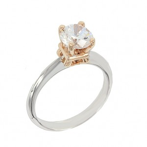 Bicolor Solitaire ring White and pink gold K14 with semiprecious stone Code 003534