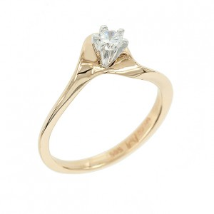 Bicolor solitaire ring Pink and white  gold K14 with semiprecious stone Code 003540