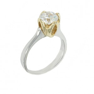 Bicolor Solitaire ring White and yellow gold K14 with semiprecious stone Code 003544