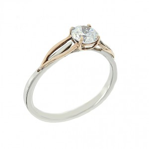 Bicolor solitaire ring White and pink gold K14 with semiprecious stone Code 003562