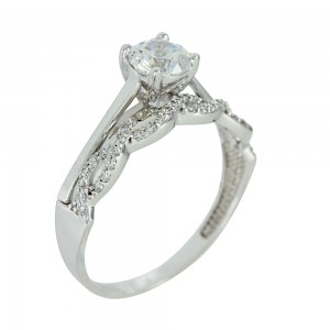 Solitaire ring  White gold K14 with semiprecious stones Code 003725