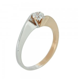 Solitaire ring White and pink gold K14 with semiprecious stone Code 003730