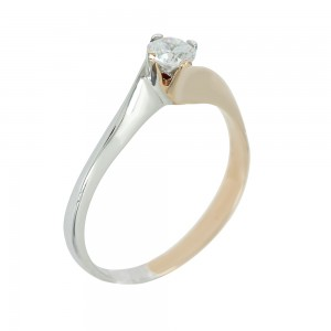 Solitaire ring White and pink gold K14 with semiprecious stone Code 003731