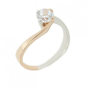 Solitaire ring White and pink gold K14 with semiprecious stone Code  003795