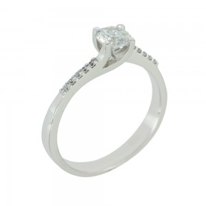 Solitaire ring White gold K14 with semiprecious stones Code 003797