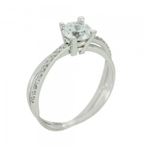 Solitaire ring White gold K14 with semiprecious stones Code 003814