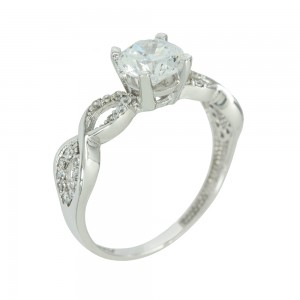 Solitaire ring White gold K14 with semiprecious stones Code 003815