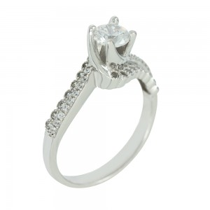 Solitaire ring White gold K14 with semiprecious stones Code 003817