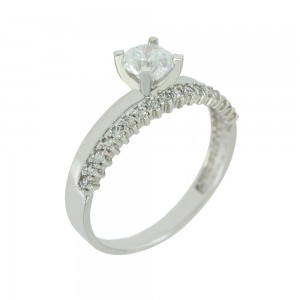 Solitaire ring White gold  K14 with semiprecious stone Code 005618