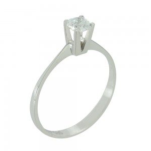Solitaire ring White gold  K14 with semiprecious stone Code 003821