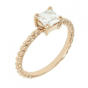 Solitaire ring Pink gold K14 with semiprecious stone Code 004100