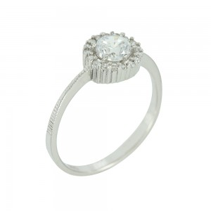 Solitaire rosette ring White gold K14 with semiprecious stones Code 004411