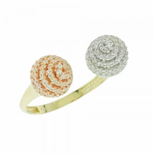 Ring  Yellow, pink and white gold K14 with Swarovski crystals Code 004499