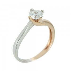 Bicolor solitaire ring White and pink gold K14 with semiprecious stone Code 004503