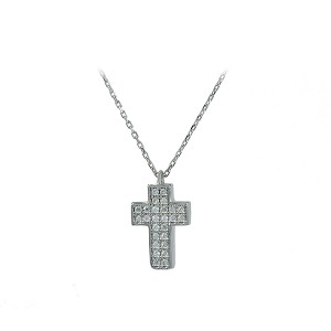 Cross with chain White gold K14 with Semiprecious stones Code 004633