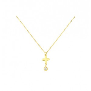 Cross with chain Yellow gold K14 and diamond Brilliant cut Code 004696