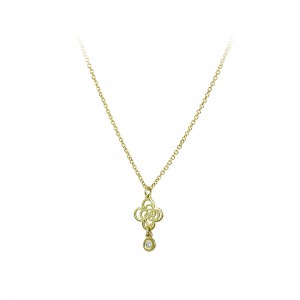 Cross with chain Yellow gold K14 and diamond Brilliant cut Code 004699