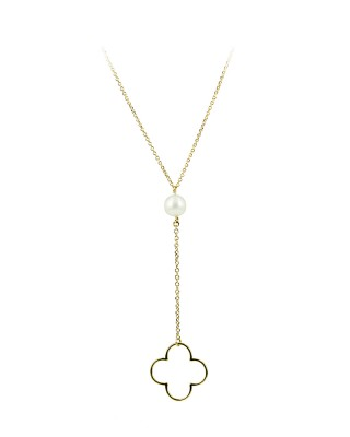 Necklace Yellow gold K14 with pearl Code 004708
