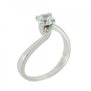 Solitaire ring White gold  K14 with semiprecious stone Code 004770