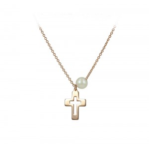 Cross with chain Pink gold K14 and pearl Code 005185