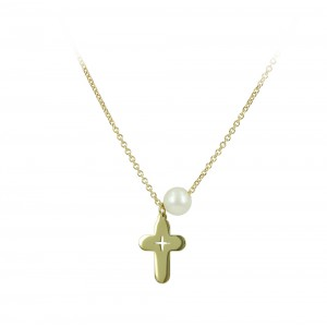 Cross with chain Yellow gold K14 and pearl Code 005186