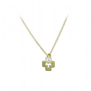 Cross with chain Yellow gold K14 and pearl Code 005192