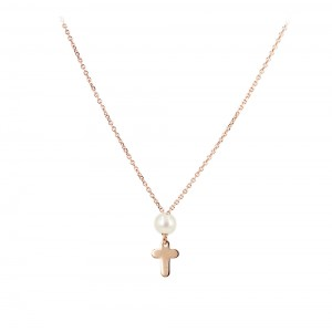Cross with chain Pink gold K14 and pearl Code 005381