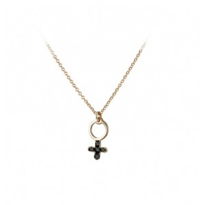 Cross with chain Pink gold K14 and black diamodns Brilliant cut Code 005383