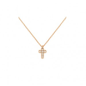 Cross with chain Pink gold K14 and diamodns Brilliant cut Code 005386