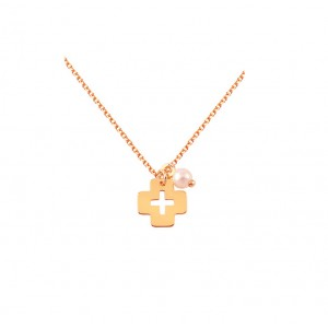 Cross with chain Pink gold K14 and pearl Code 005394