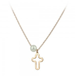 Cross with chain Pink gold K14 and pearl Code 005395