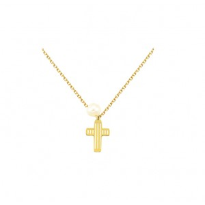 Cross with chain Yellow gold K14 and pearl Code 005403