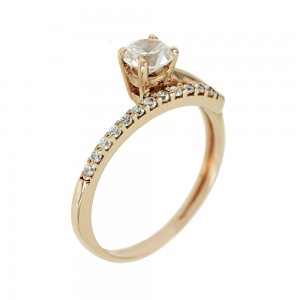 Solitaire ring Pink gold K14 with semiprecious stones Code 005604