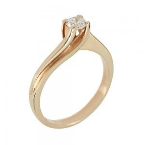 Solitaire ring Pink gold K14 with semiprecious stone Code 005609
