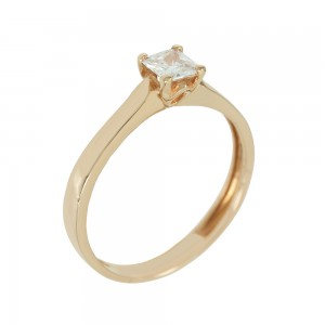 Solitaire ring Pink gold K14 with semiprecious stone Code 005610