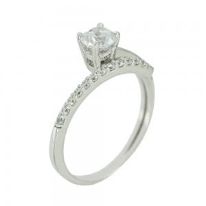 Solitaire ring White gold K14 with semiprecious stones Code 005611