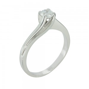 Solitaire ring White gold  K14 with semiprecious stone Code 005613
