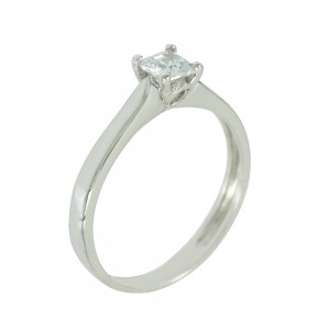 Solitaire ring White gold  K14 with semiprecious stone Code 005614