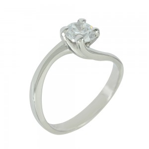 Solitaire ring White gold  K14 with semiprecious stone Code 005615