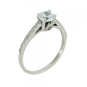 Solitaire ring White gold K14 with semiprecious stones Code 005616
