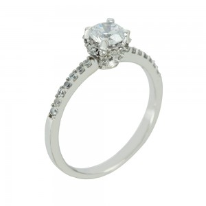 Solitaire ring White gold K14 with semiprecious stones Code 005617